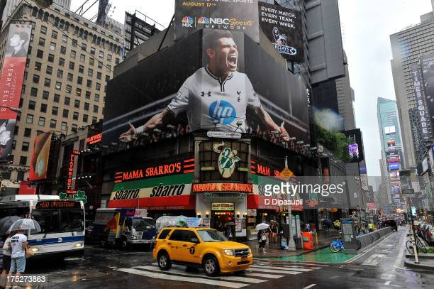 General view of a billboard showing Welsh professional footballer Gareth Bale of English Premier League club Tottenham Hotspur in Times Square.