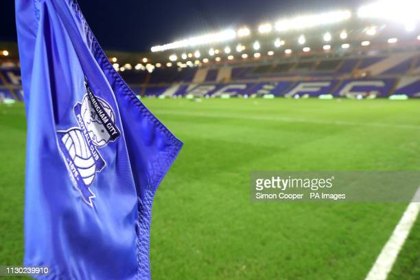 A general view of a Birmingham City flag ahead of the match during the Sky Bet Championship match at St Andrew's Trillion Trophy Stadium Birmingham
