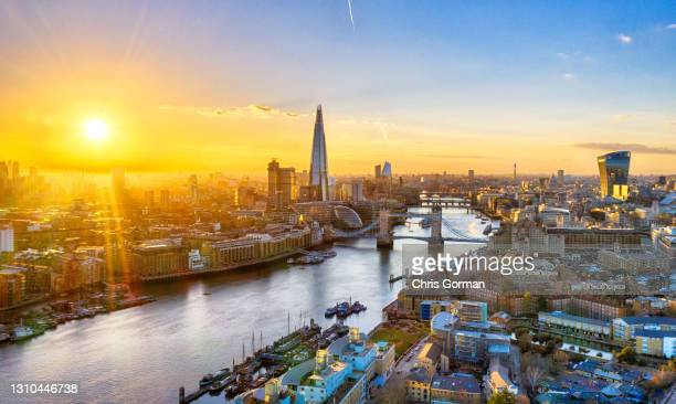 General view of a blazing sunset over the city on February 26, 2021 in London, United Kingdom. On this day in 2018, the original Beast From the East...