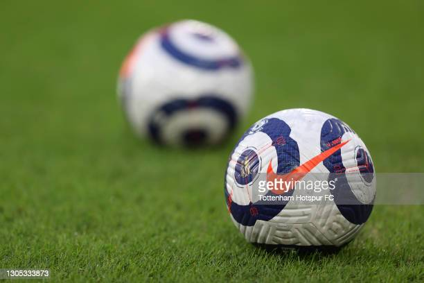 General view of a blue and white Nike Flight match ball prior to the Premier League match between Fulham and Tottenham Hotspur at Craven Cottage on...