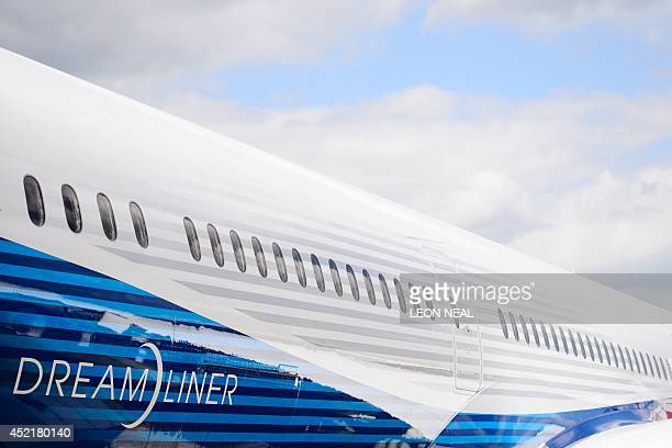 General view of a Boeing Dreamliner at the Farnborough air show in Hampshire England on July 15 2014 The biennial event sees leading companies from...