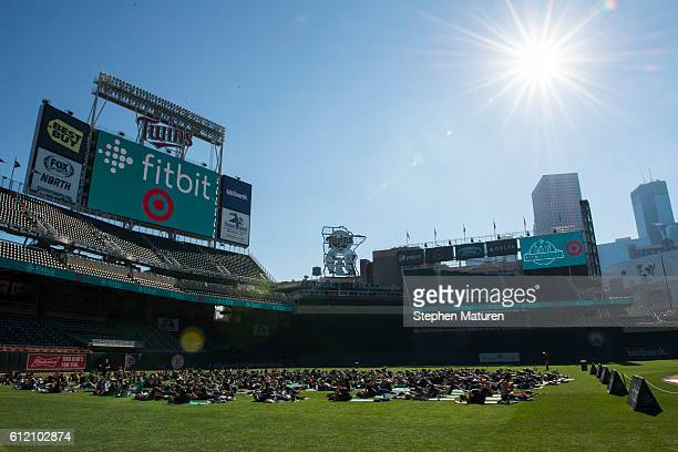 General view of a bootcamp and yoga workout as Fitbit Local Minneapolis launches with a free event at Target Field on October 1, 2016 in Minneapolis,...