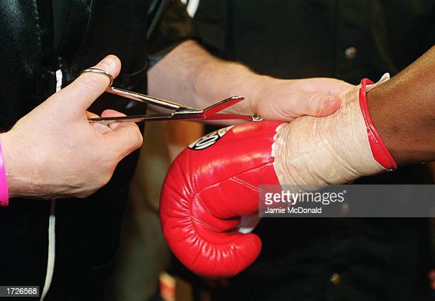 General view of a boxers glove during the British and Commonwealth heavyweight fight between Danny Williams and Michael Sprott held on February 12...