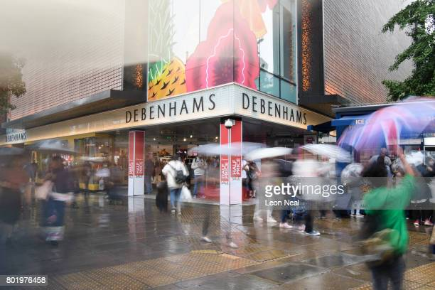 A general view of a branch of the Debenhams department store on Oxford Street on June 27 2017 in London England The national retail chain has...