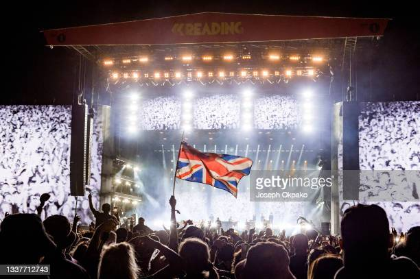 General view of a british flag waving at Main Stage East during Reading Festival 2021 at Richfield Avenue on August 29, 2021 in Reading, England.