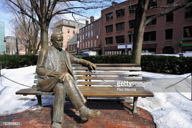 A general view of a bronze statue of Boston's controversial Mayor James Michael Curley on February 25 2013 in Boston