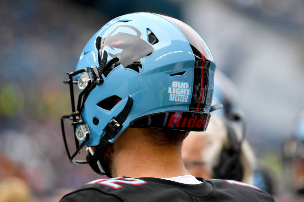A general view of a Bud Light Seltzer patch affixed to the back of Landry Jones of the Dallas Renegades helmet before the game against the Seattle...