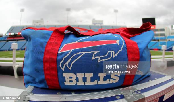 General view of a Buffalo Bills equipment bag on the bench before a game against the Philadelphia Eagles at New Era Field on October 27, 2019 in...
