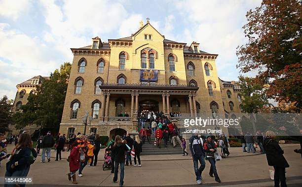 General view of a building on the campus of Notre Dame University before the Notre Dame Fighting Irish take on the University of Southern California...