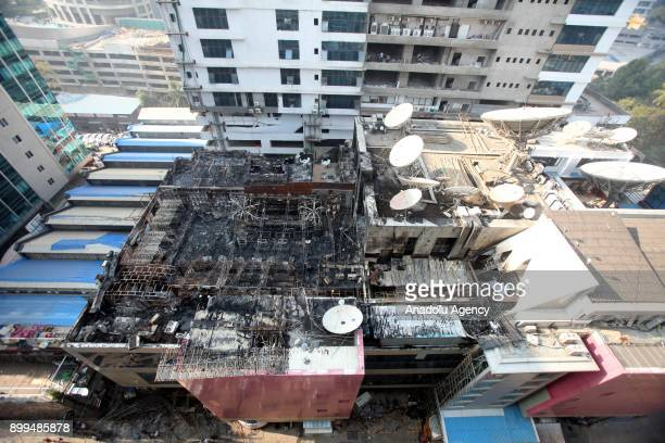 A general view of a burning building after a fire broke out at a rooftop restaurant in Mumbai India on December 29 2017 At least 15 people were...