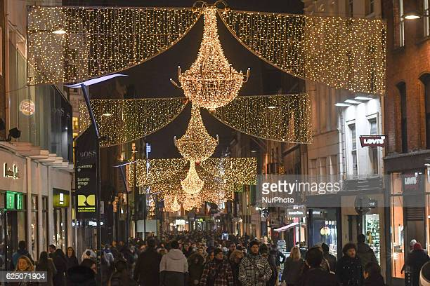 A general view of a busy Grafton Street in Dublin decorated for Christmas season Dublin Ireland on 22 November 2016