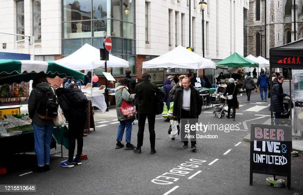 A general view of a busy Marylebone Farmers Market on March 29 2020 in London England The coronavirus pandemic has spread to at least 182 countries...