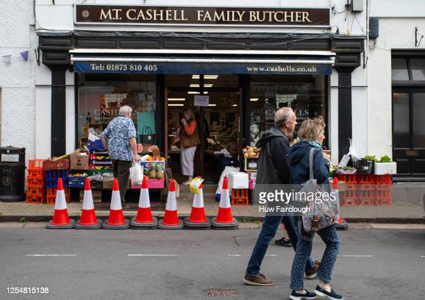 General view of a butchers shop in the High Street on July 7, 2020 in Crickhowell, Wales, United Kingdom. Businesses in Crickhowell have noticed an...