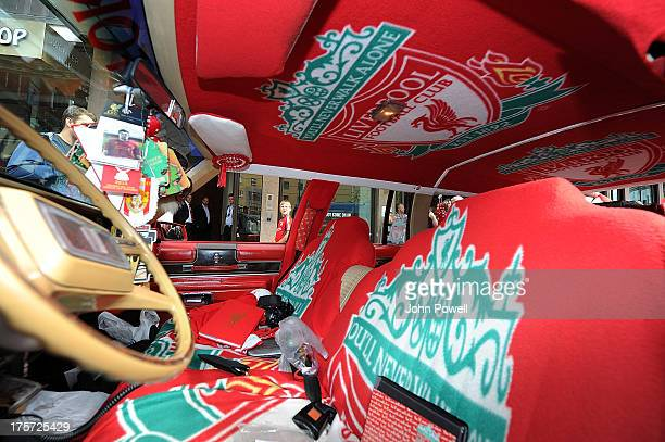 General view of a car decoarted by Liverpool fan Jan Erik Andersen outside the Clarion Hotel on August 7 2013 in Oslo Norway