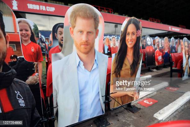 A general view of a cardboard cut out of Prince Harry and Meghan Markle during the Sky Bet Championship match at the City Ground Nottingham