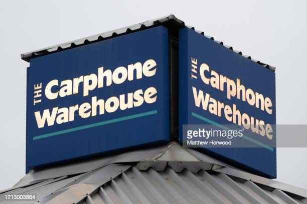 A general view of a Carphone Warehouse store sign on March 17 2020 in Cardiff Wales The phone retailer has announced the closure of all its...