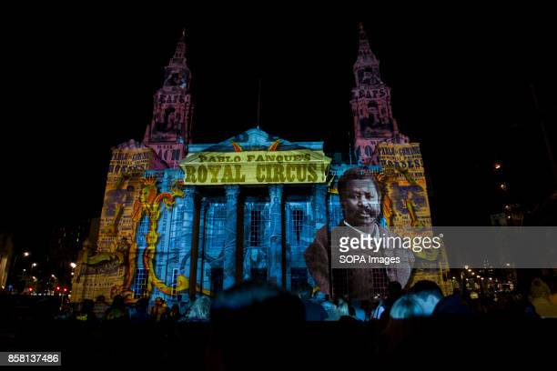 A general view of a cathedral covered by lighting art during the Leeds Festival Light Night Leeds is an annual free multiarts and light festival that...
