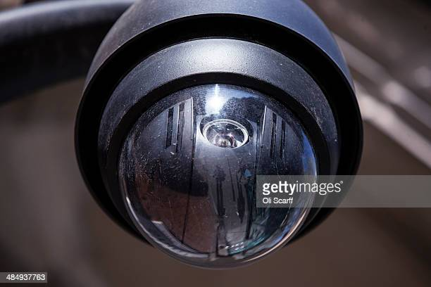 A general view of a CCTV camera in Westminster on April 15 2014 in London England Privacy campaigners have stated that Town halls in the UK have been...