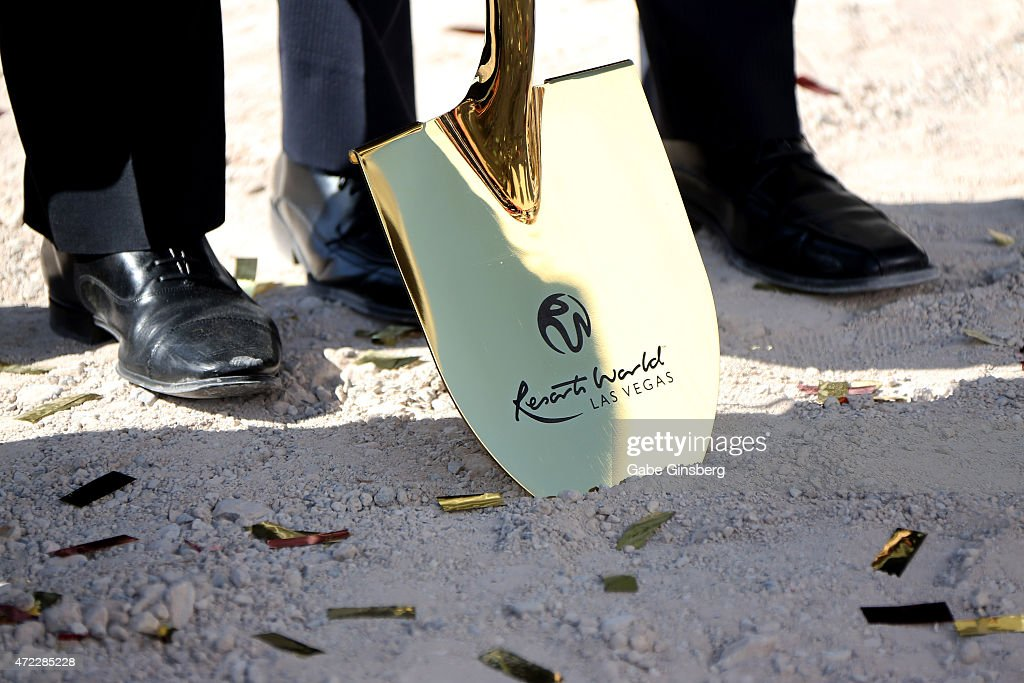 A general view of a ceremonial shovel during the Genting Group's ceremonial groundbreaking for Resorts World Las Vegas on May 5, 2015 in Las Vegas, Nevada. The USD 4 billion property on the Las Vegas Strip is expected to open in 2018 on the site of the former Stardust Resort & Casino.