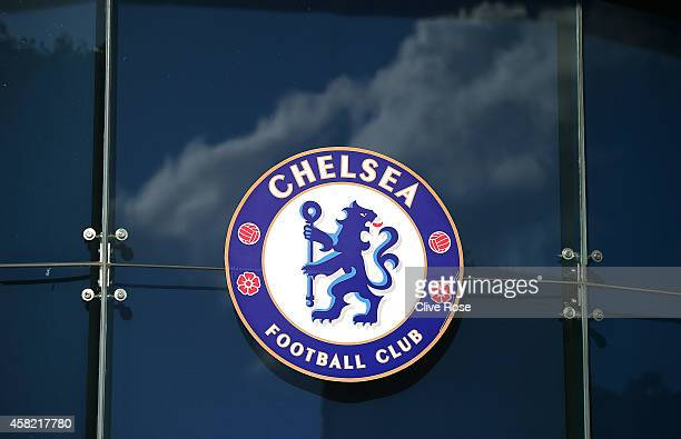 General view of a Chelsea Football Club logo during the Barclays Premier League match between Chelsea and Queens Park Rangers at Stamford Bridge on...