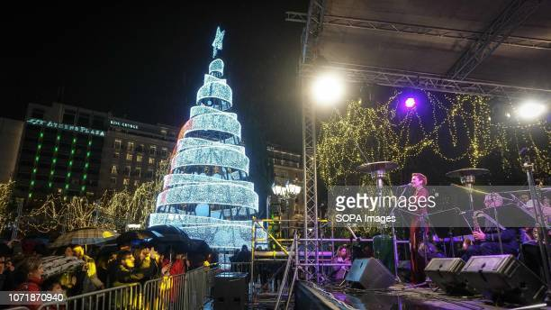 A general view of a Christmas tree at the Syntagma Square in Athens Thousands of people turned up during the switch on of the Christmas tree at the...