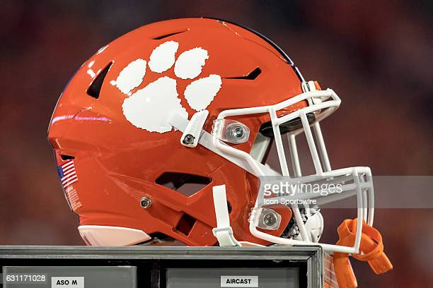 A general view of a Clemson Tigers helmet rests on a cabinet during the Playstation Fiesta Bowl against the Ohio State Buckeyes at University of...