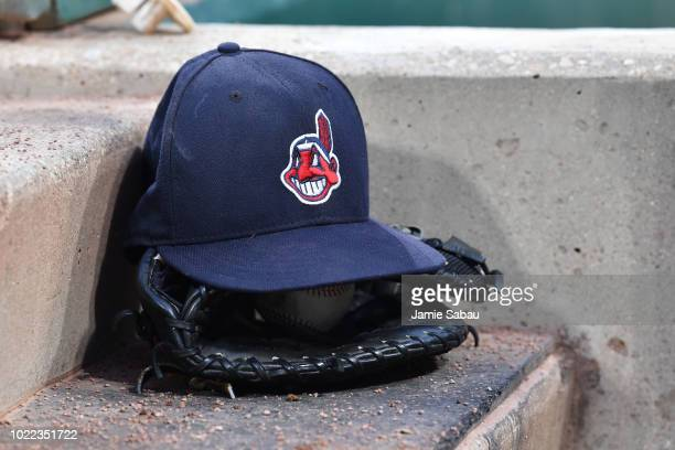 b3f3d3b9bf1 A general view of a Cleveland Indians hat in the dugout during a game  against the