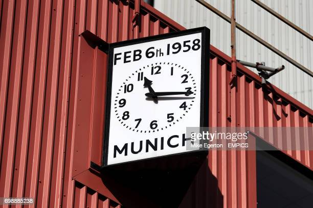 A general view of a clock at Old Trafford commemorating the Munich Air Disater in 1958