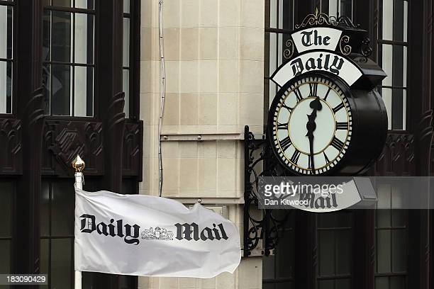 A general view of a clock on the side of Northcliffe House where the offices of British newspapers the Daily Mail and Mail On Sunday are located on...
