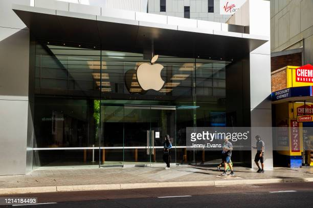 General view of a closed Apple store in Bondi Junction is seen on March 23, 2020 in Sydney, Australia. From midday Monday, venues such as bars,...