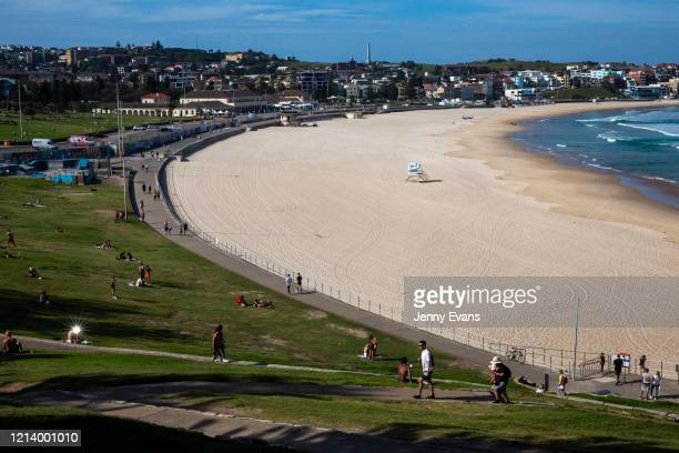 A general view of a closed Bondi Beach is seen on March 22 2020 in Sydney Australia Prime Minister Scott Morrison on Friday introduced further...