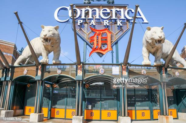 A general view of a closed Comerica Park where the Detroit Tigers were scheduled to open the season on March 30th against the Kansas City Royals on...