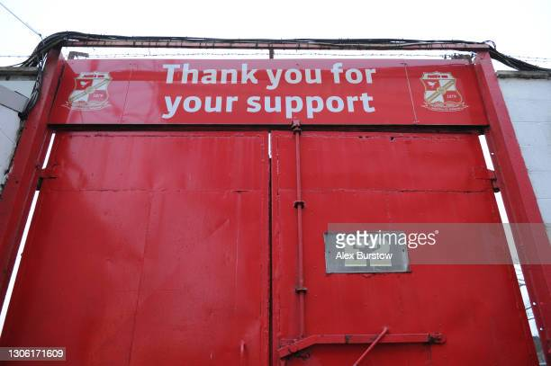 General view of a closed entrance gate prior to the Sky Bet League One match between Swindon Town and Oxford United at County Ground on March 09,...