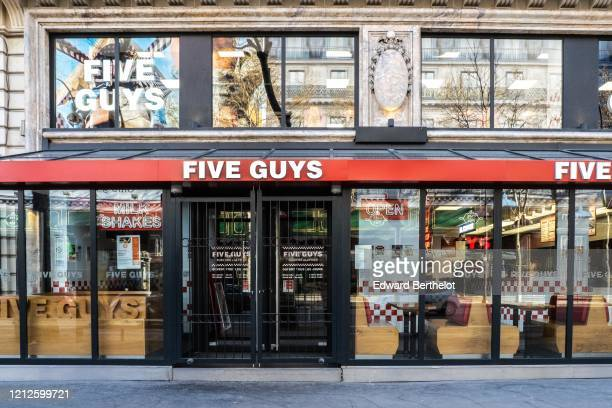 General view of a closed Five Guys restaurant in the 9th quarter of Paris on March 15 2020 in Paris France Restaurants and fast food restaurants are...