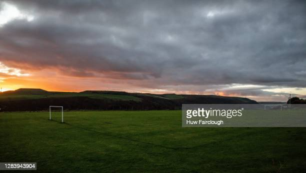 General view of a community football pitch as the sunsets on November 04, 2020 in Markham, Caerphilly, Wales, United Kingdom. Community Football has...