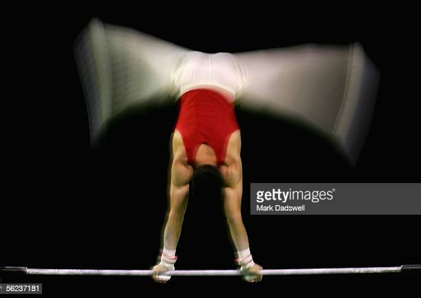 A general view of a competitor on the horizontal bar during the 2005 World Gymnastics Championships podium training at Melbourne Park November 19...