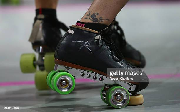 A general view of a competitors skates during the Roller Derby Extreme between the LA Derby Dolls and the New York Gotham Girls at Hisense Arena on...