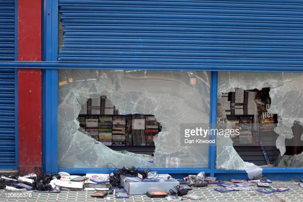 A general view of a computer games store in Brixton after looting on August 8 2011 in London England Widespread rioting and looting took place across...
