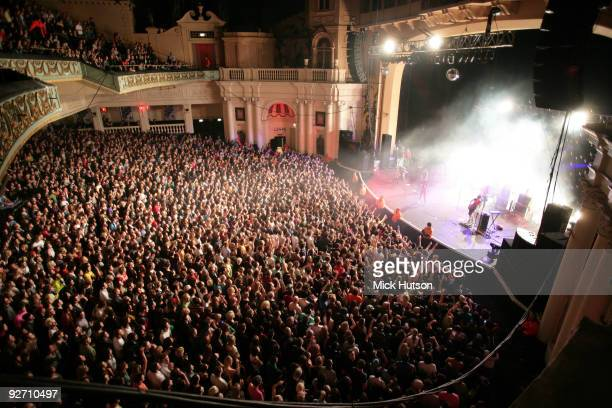 General view of a concert at Brixton Academy showing the audience and the auditorium with the band CSS performing on stage on December 3rd, 2007 in...