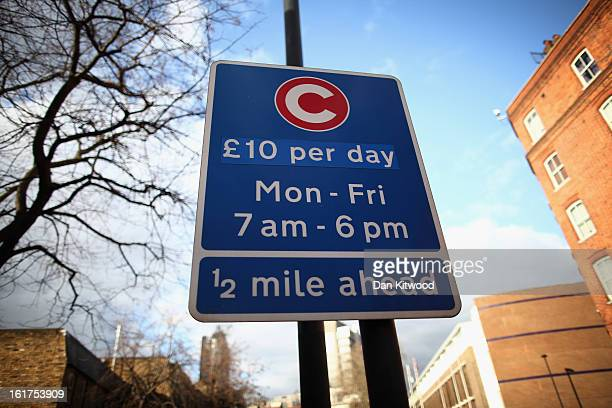 A general view of a congestion charge sign near Vauxhall on February 15 2013 in London England The weekday charge was introduced by the then Mayor of...