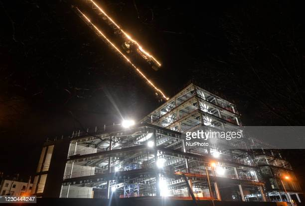 General view of a construction site near the Grand Canal in Dublin, seen during COVID-19 level 5 lockdown. The Department of Health reported today...