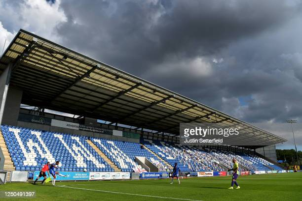 General view of a corner during the Sky Bet League Two Play Off Semi-final 1st Leg match between Colchester United and Exeter City at JobServe...