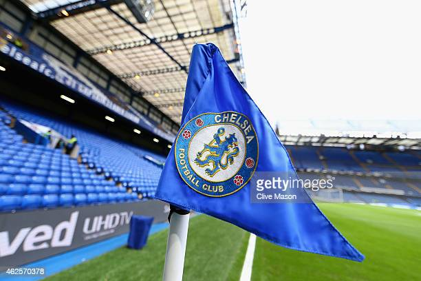 A general view of a corner flag ahead of the Barclays Premier League match between Chelsea and Manchester City at Stamford Bridge on January 31 2015...