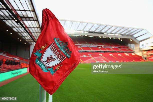 A general view of a corner flag and the stadium prior to the Premier League match between Liverpool and Stoke City at Anfield on December 27 2016 in...