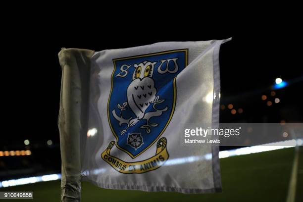 A general view of a corner flag at Hillsborough Stadium ahead of The Emirates FA Cup Fourth Round match between Sheffield Wednesday and Reading on...
