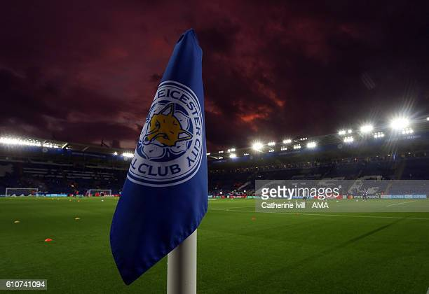 General view of a corner flag during the sunset at the stadium before the UEFA Champions League match between Leicester City FC and FC Porto at The...