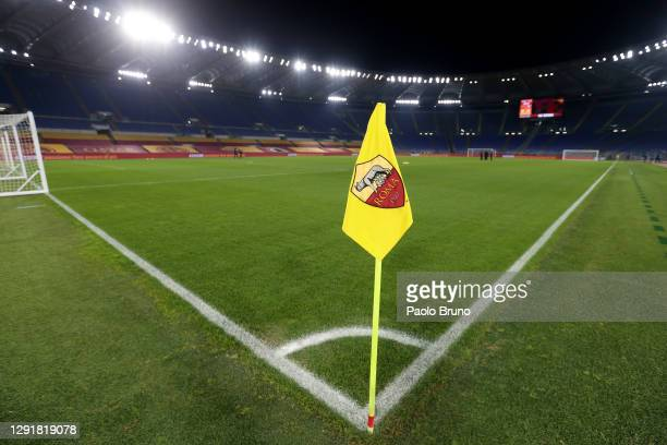 General view of a corner flag inside the stadium ahead of the Serie A match between AS Roma and Torino FC at Stadio Olimpico on December 17, 2020 in...