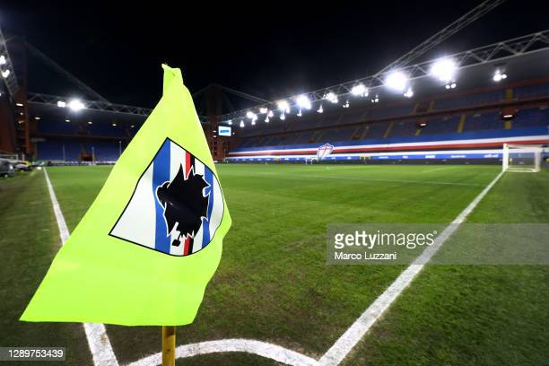 General view of a corner flag inside the stadium during the Serie A match between UC Sampdoria and AC Milan at Stadio Luigi Ferraris on December 06,...