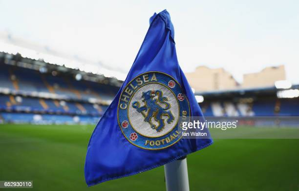 A general view of a corner flag inside the stadium prior to during The Emirates FA Cup QuarterFinal match between Chelsea and Manchester United at...