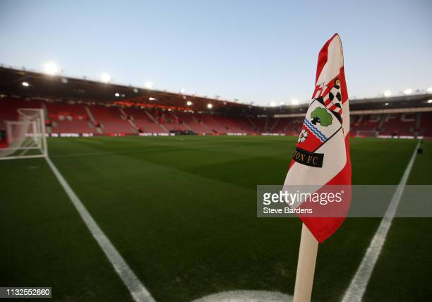General view of a corner flag inside the stadium prior to kick off during the Premier League match between Southampton FC and Fulham FC at St Mary's...
